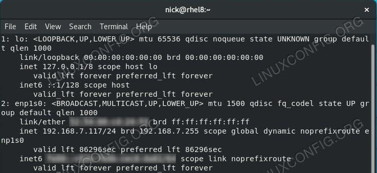 List Interfaces on RHEL 8 / CentOS 8