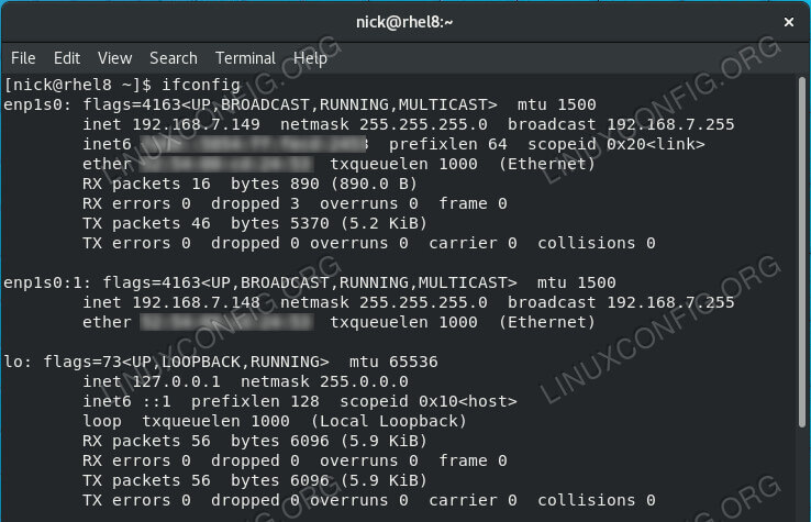 List Virtual Interfaces on RHEL 8 / CentOS 8
