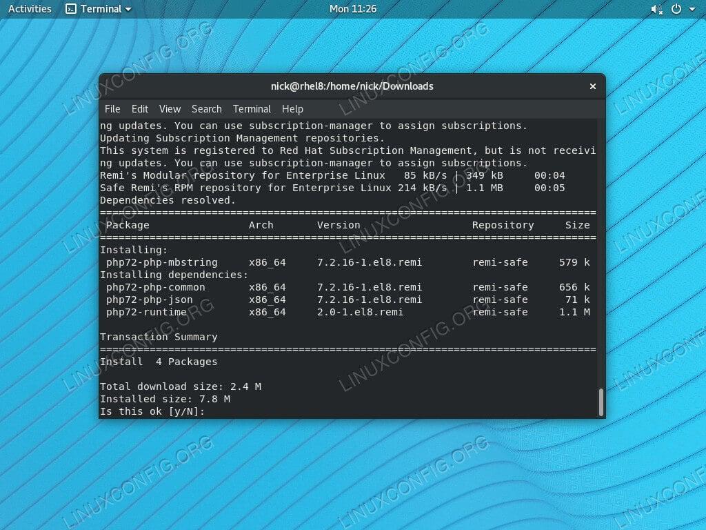 Install PHP mbstring on RHEL 8 / CentOS 8