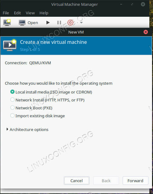 Select Install Type on Virt-Manager