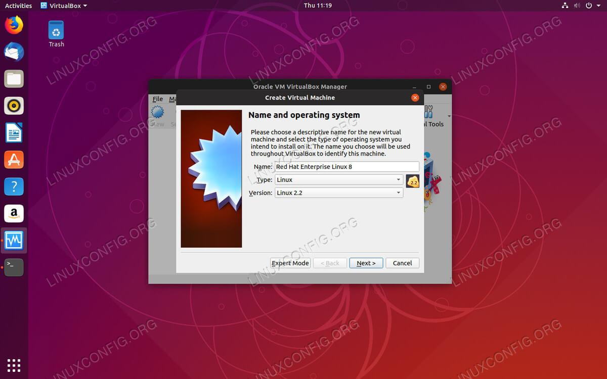 Set OS Type on VirtualBox