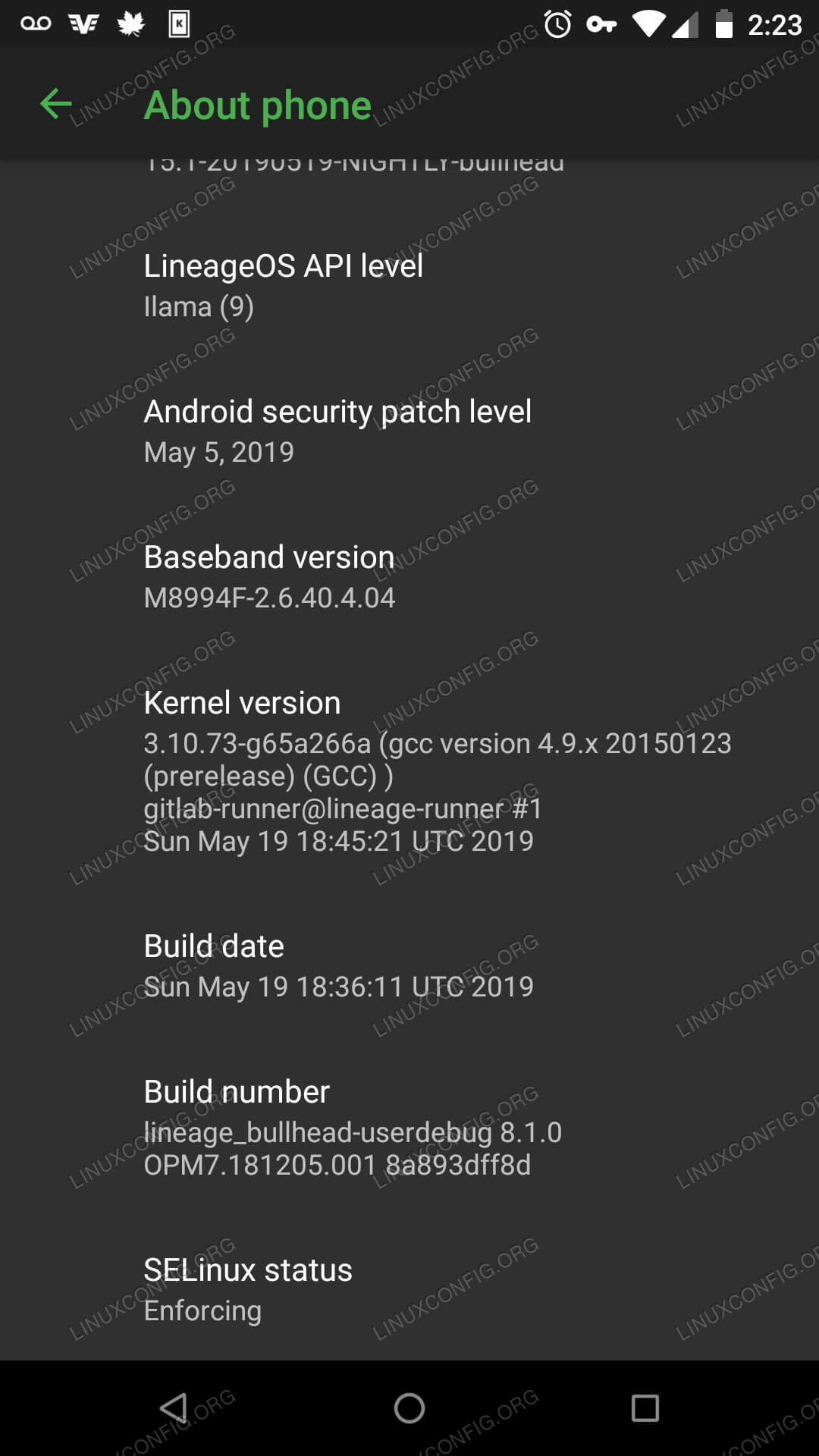 About Phone on Android