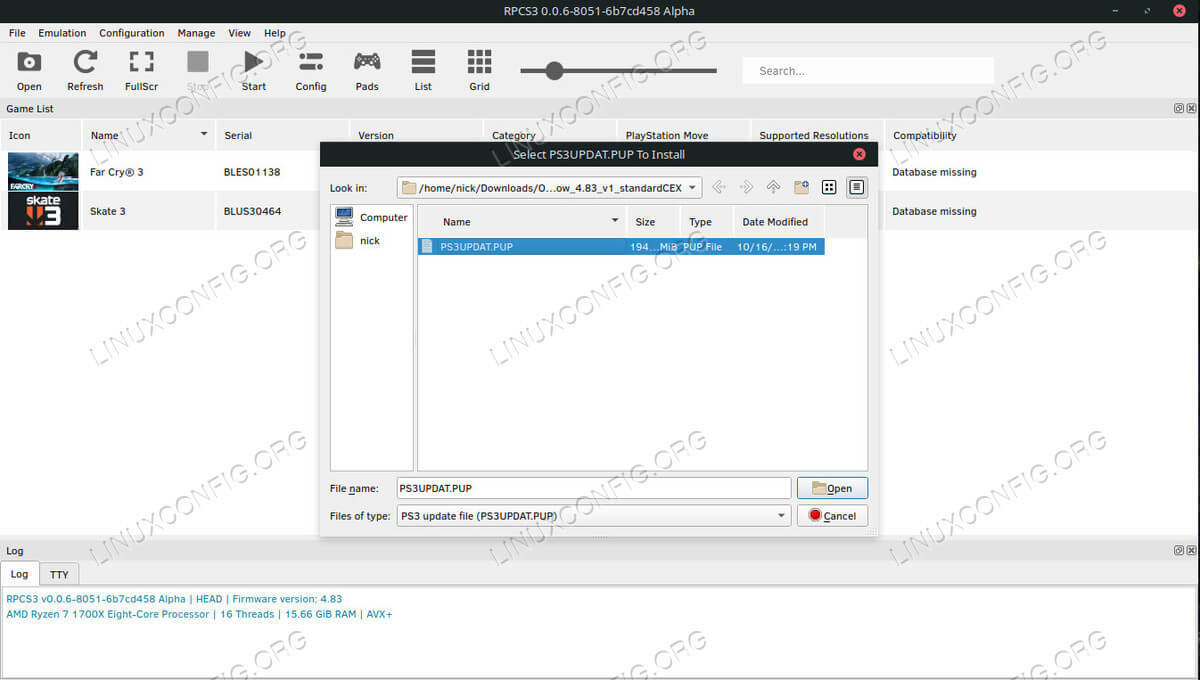 Select PS3 Firmware File for RPCS3