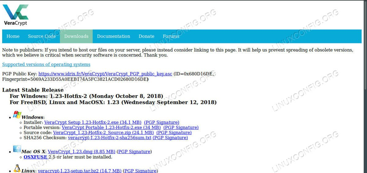 VeraCrypt Download Page