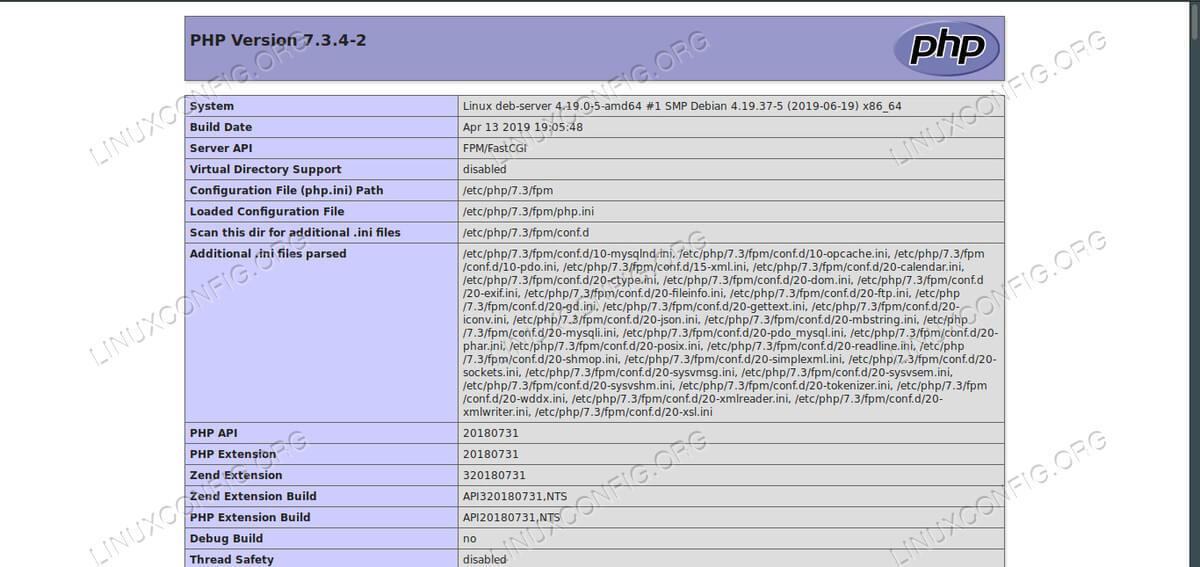 PHPinfo on LEMP on Debian 10