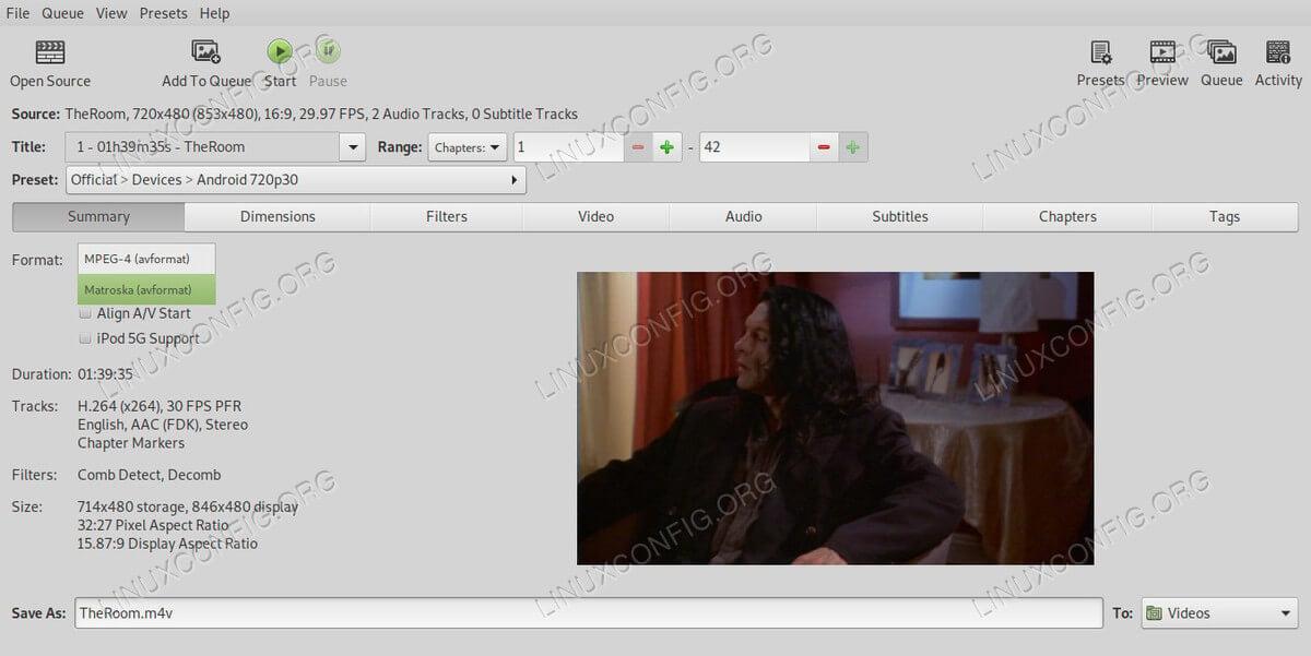 HandBrake Set Video Format