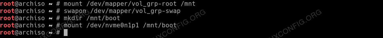 Prepare for chroot by mounting all system partitions
