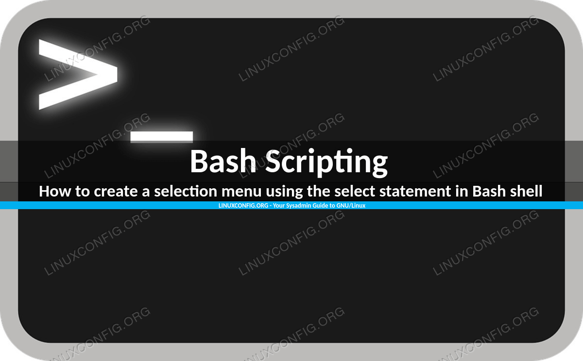How to create a selection menu using the select statement in Bash shell