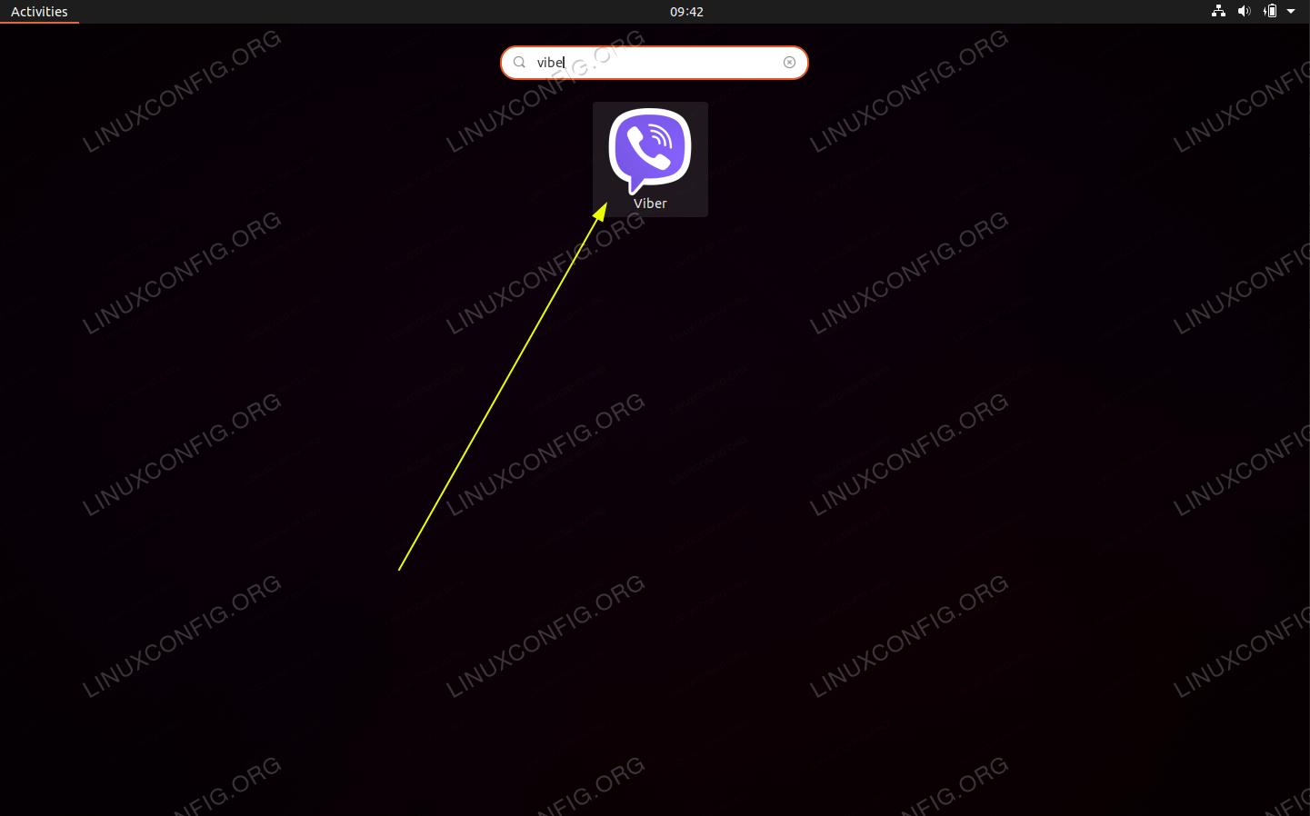 Use Activities menu to search and start Viber on your Ubuntu 20.04 desktop.