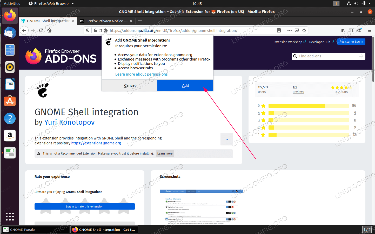 Add permission to GNOME Shell integration add-on
