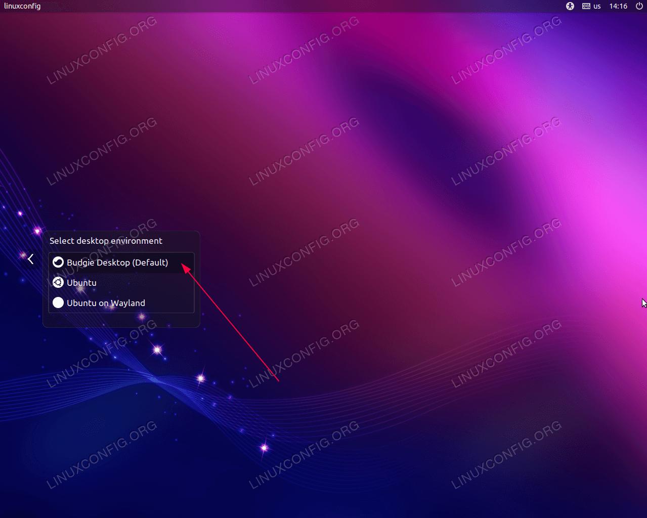 Select Budgie Desktop, enter your password and hit login button