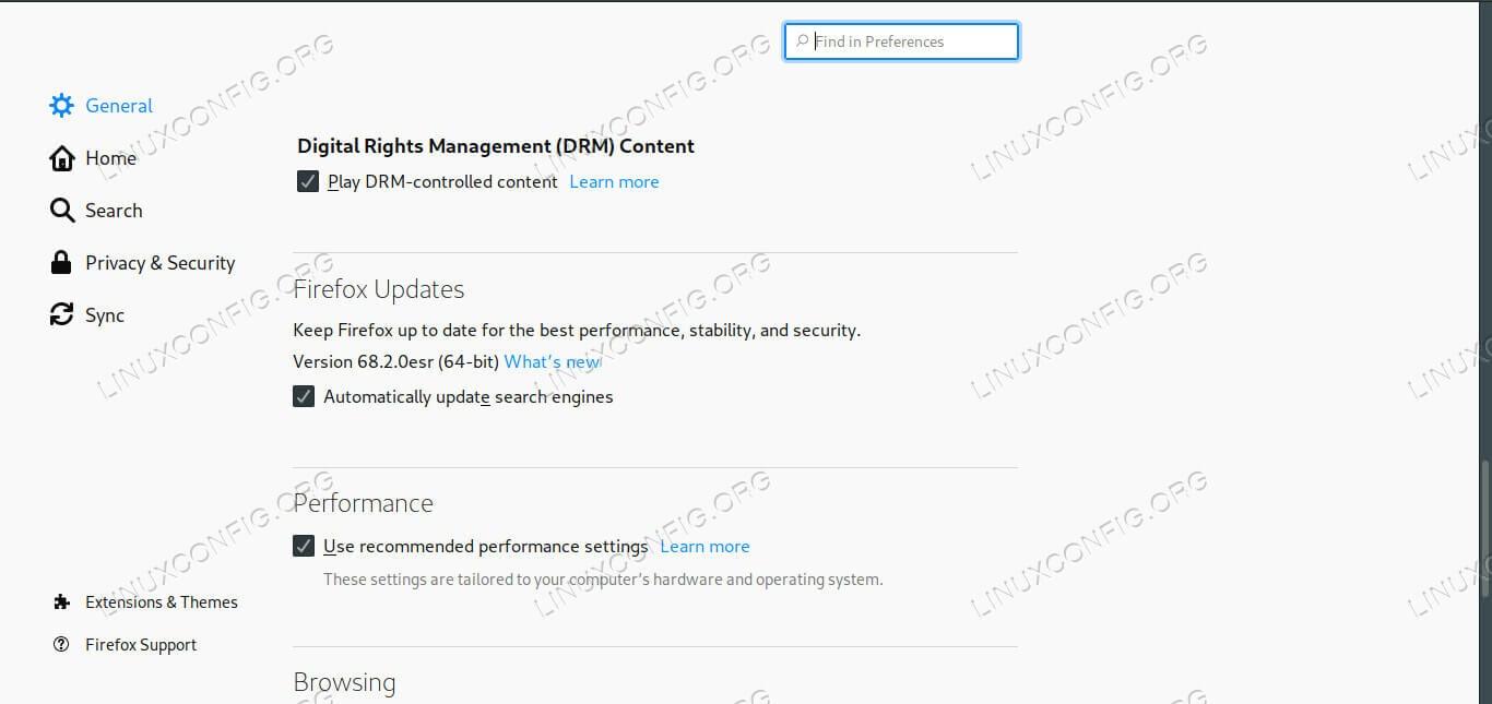 Firefox DRM Settings