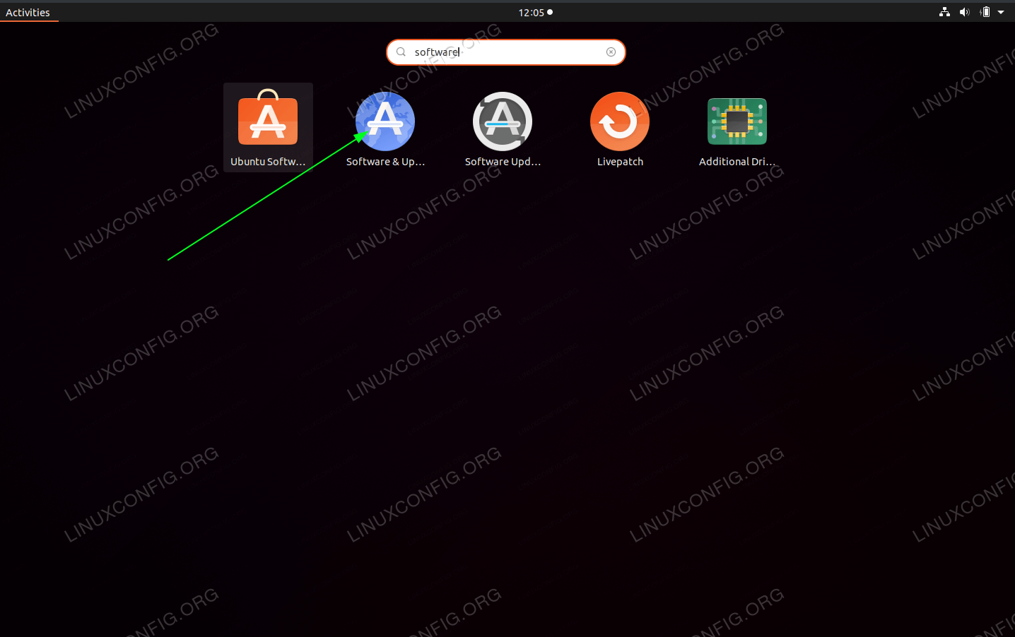From the activities menu search for Software and click on Software & Updates icon.