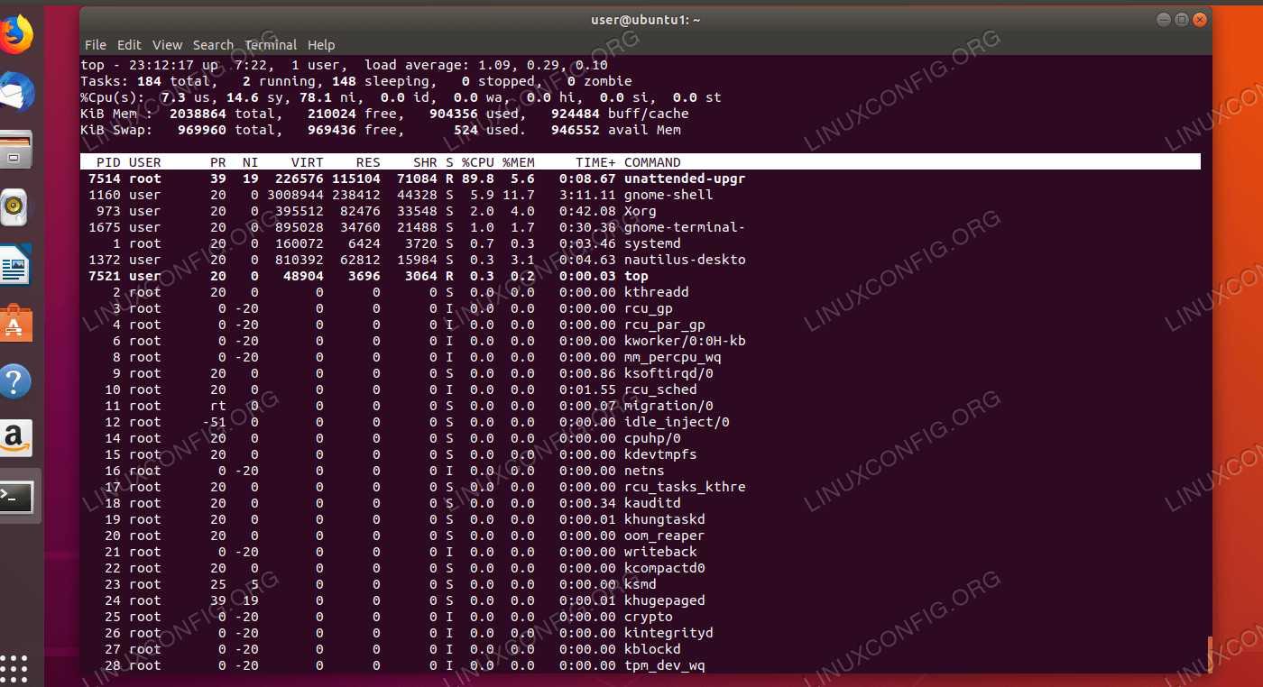 Checking the current CPU usage with top command