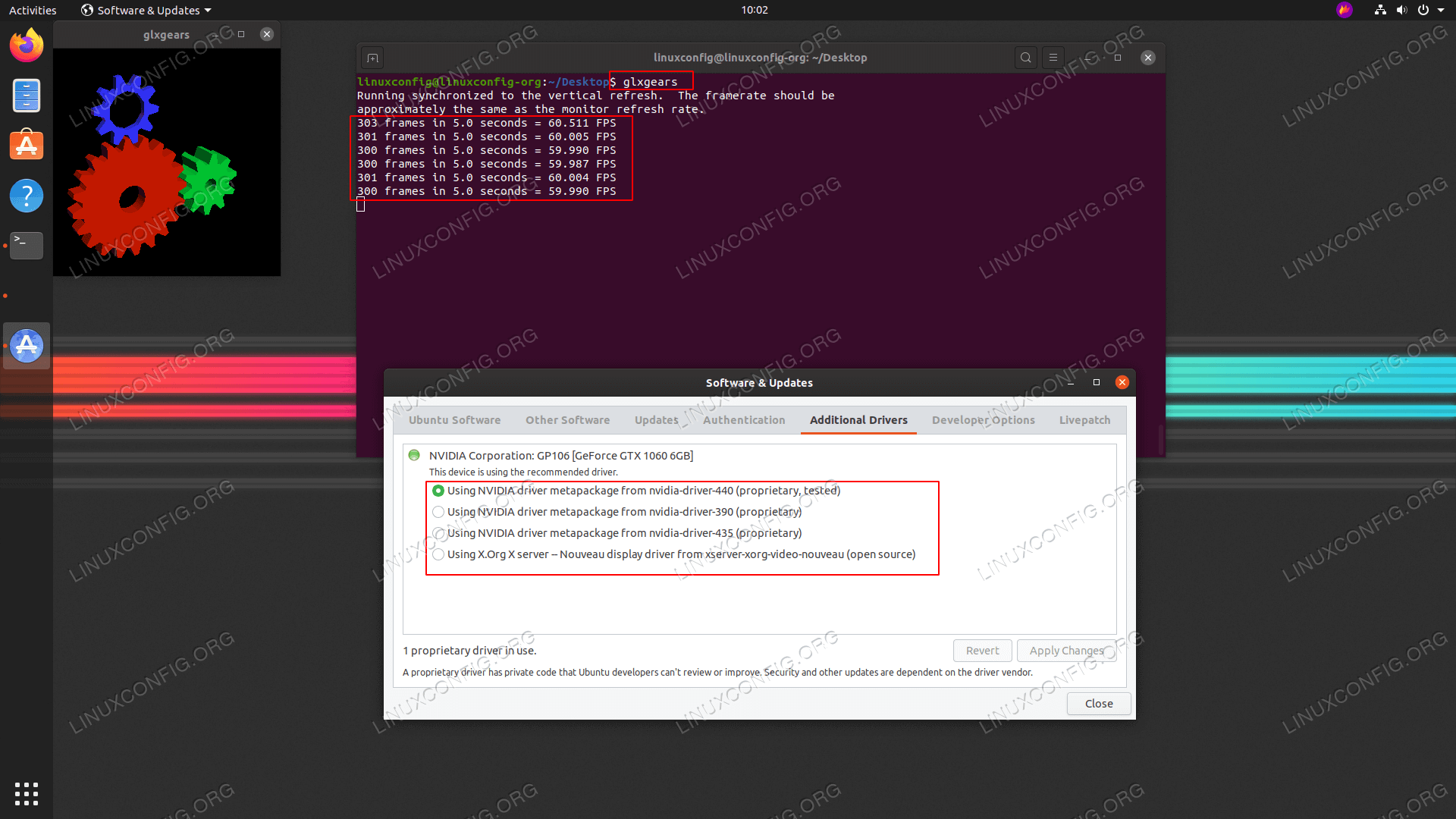 Testing 3D acceleration and FPS on Ubuntu 20.04 with glxgears