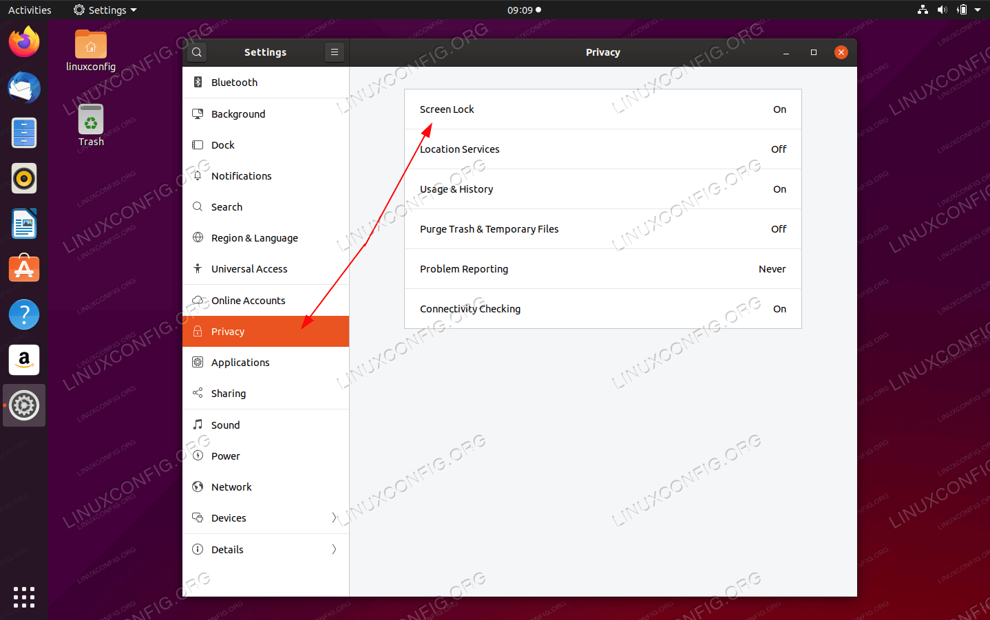 From there click on Privacy tab followed by the Lock screen menu