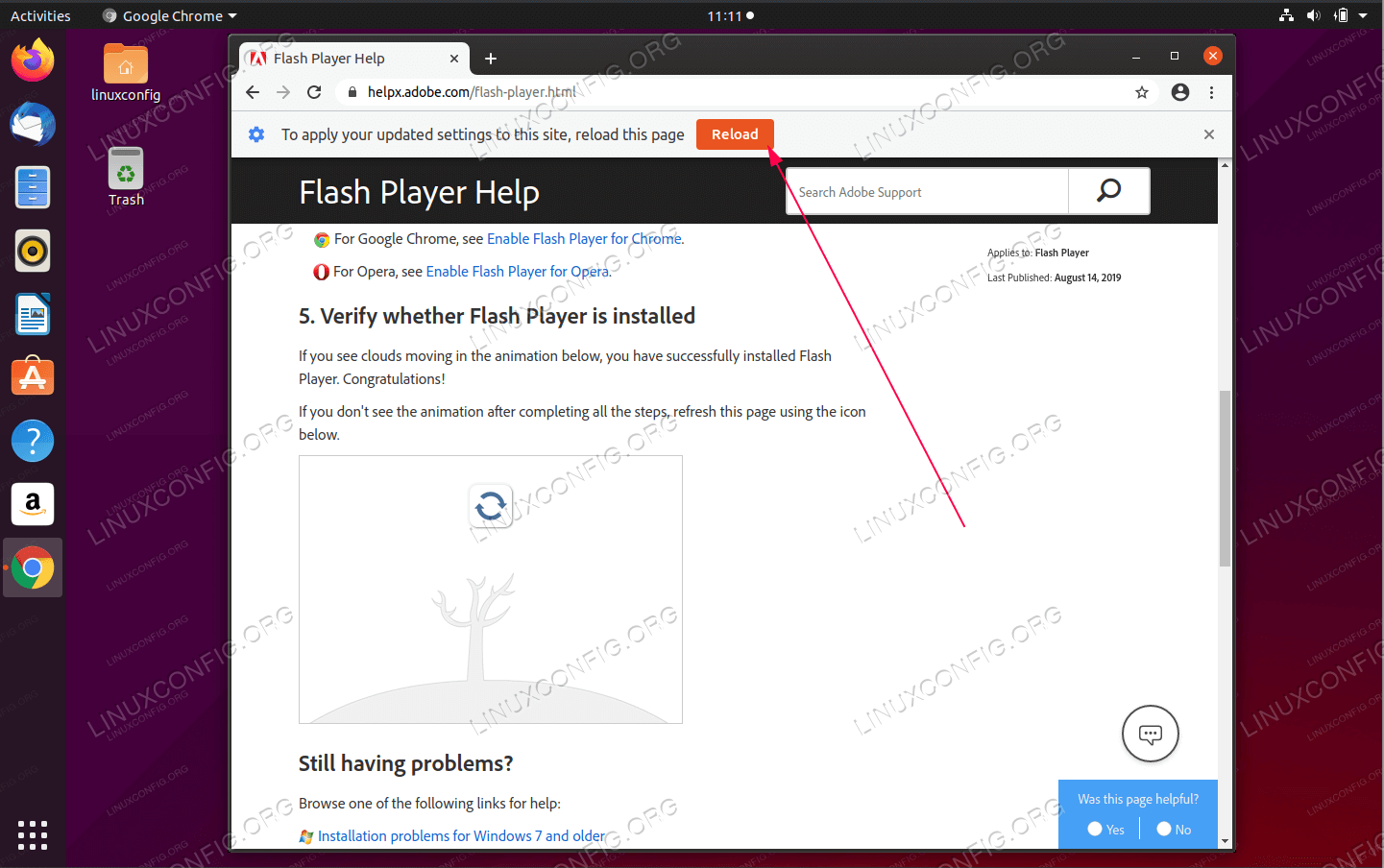 Reload the page to activate Flash Player