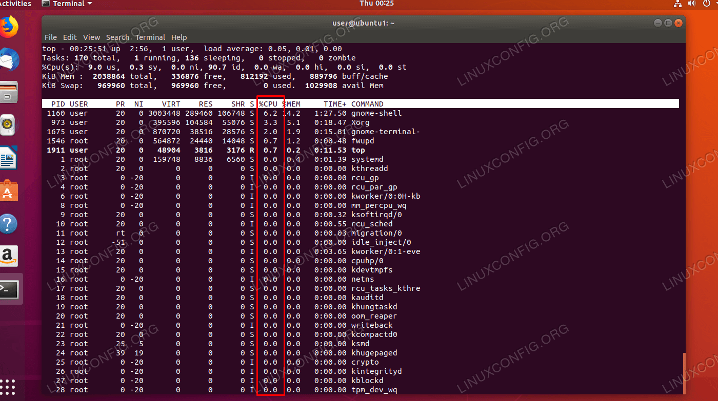 CPU usage percentage