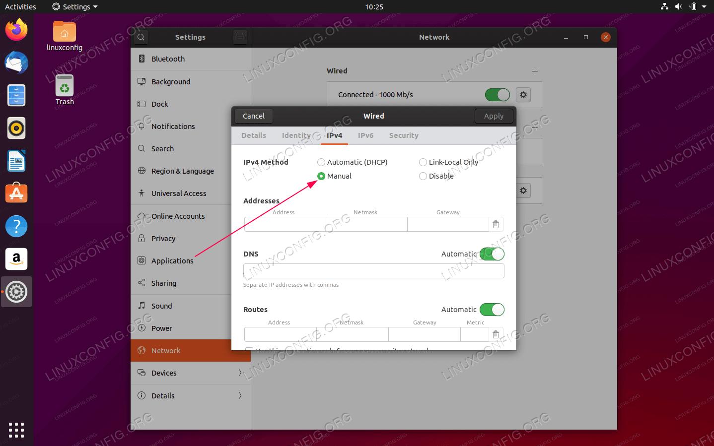 Set IPv4 Method to Manual