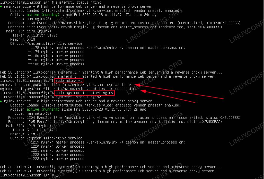 How to restart NGINX on Ubuntu 20.04 Focal Fossa