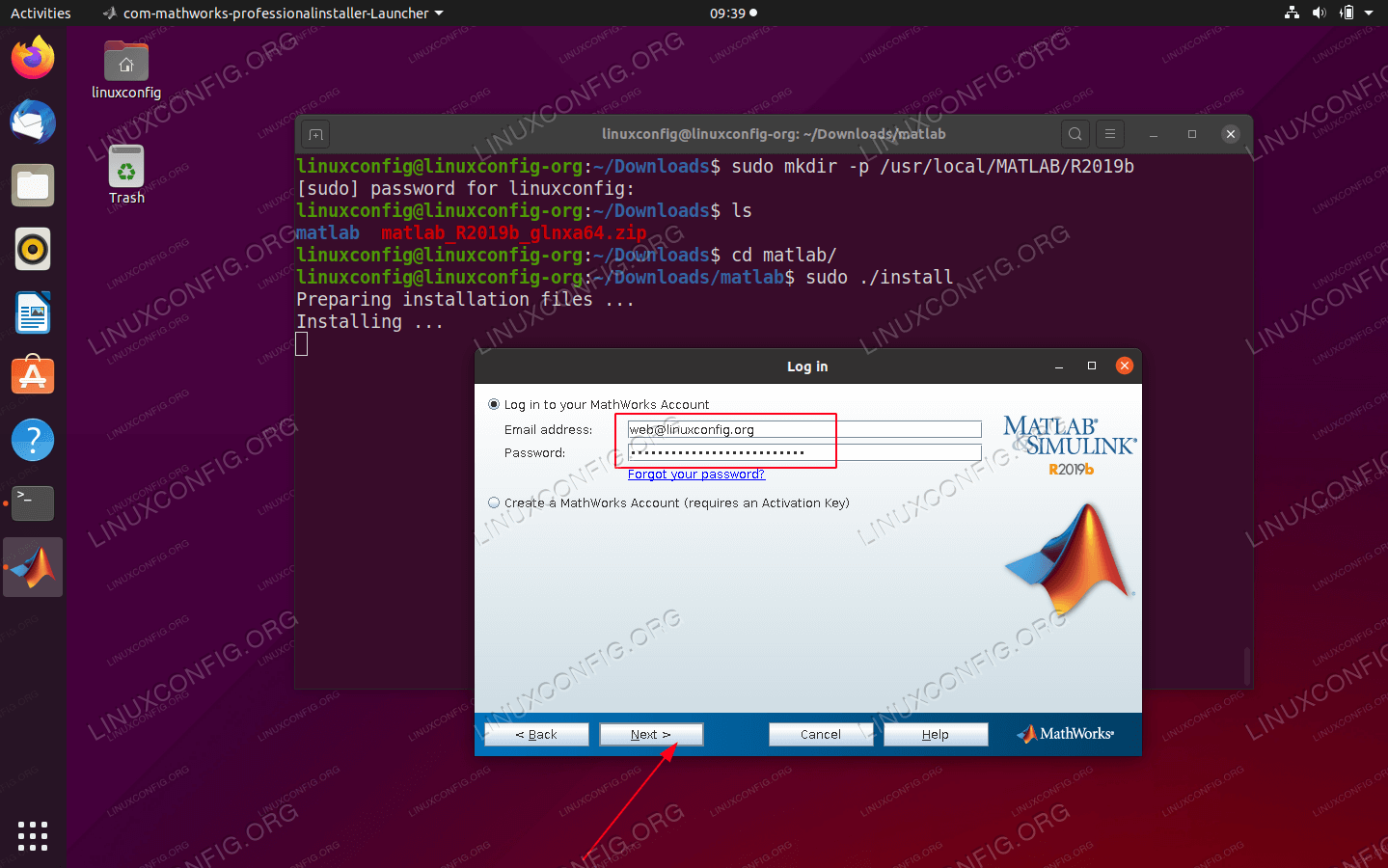 Create MathWorks account or provide your existing Login credentials