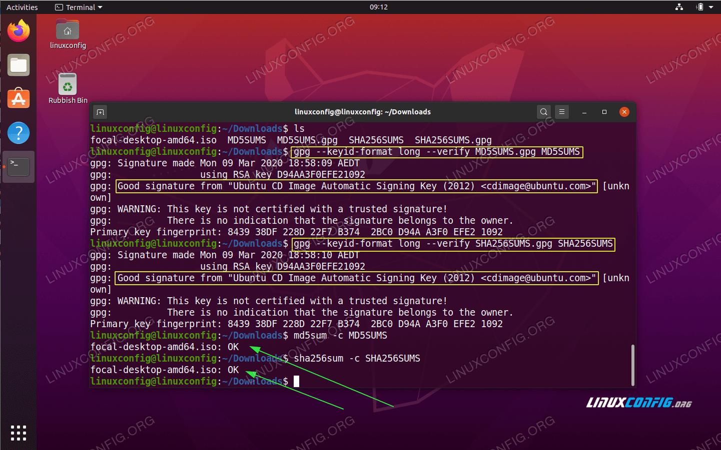 How to verify downloaded Ubuntu ISO image checksum