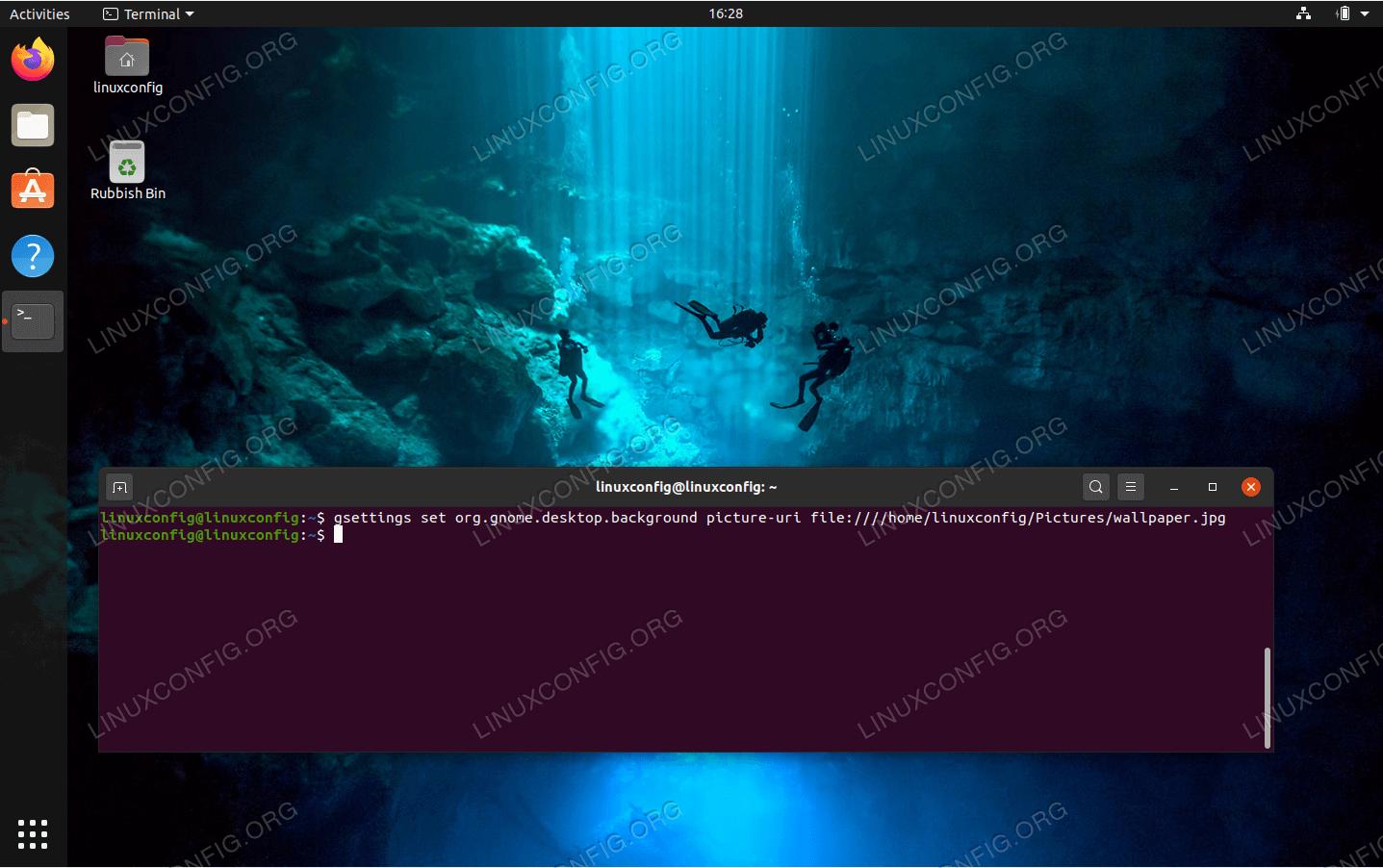 Set wallpaper on Ubuntu 20.04 using command line