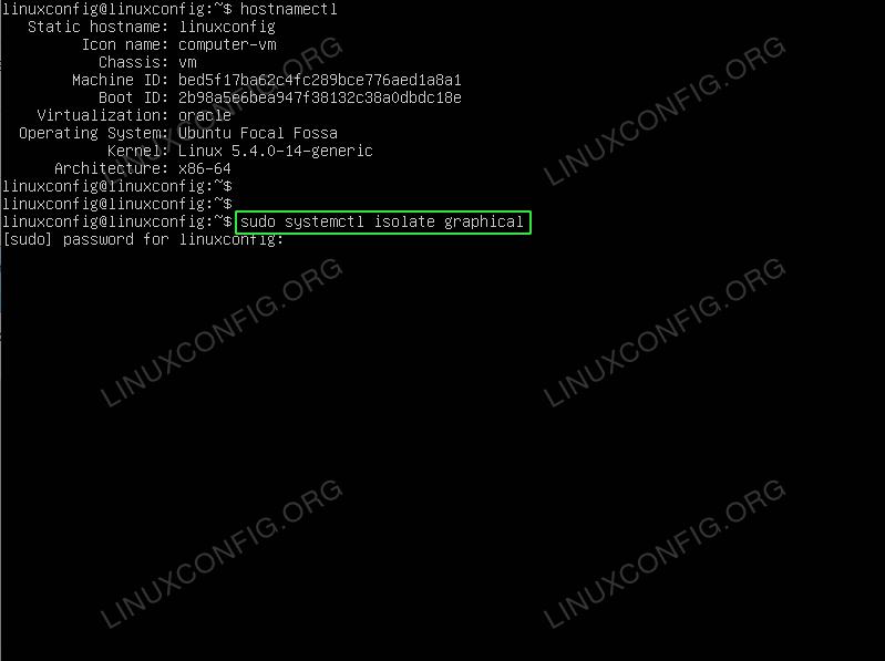 Start GUI from command line on Ubuntu 20.04 Focal Fossa