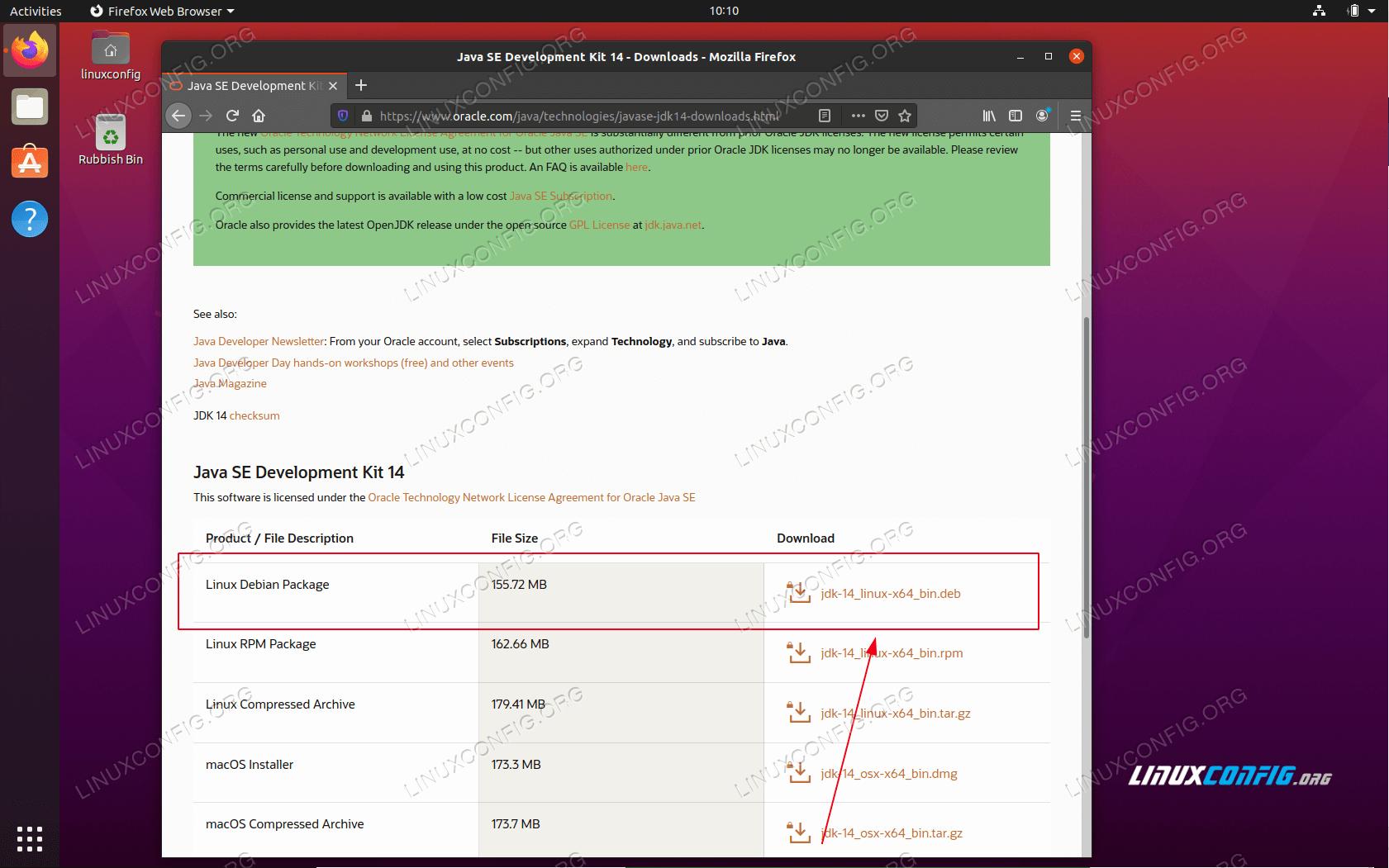 download oracle java JDK package