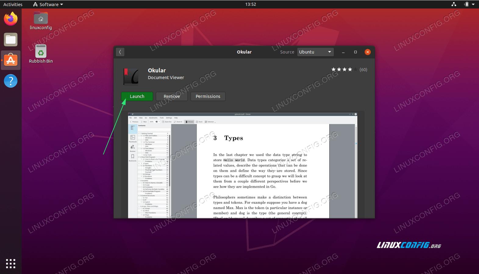 Start the Okular PDF viewer application