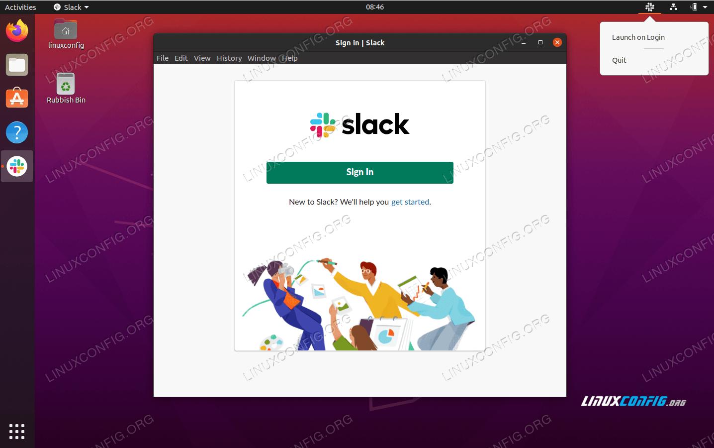 Slack instant messaging platform on Ubuntu 20.04 Focal Fossa