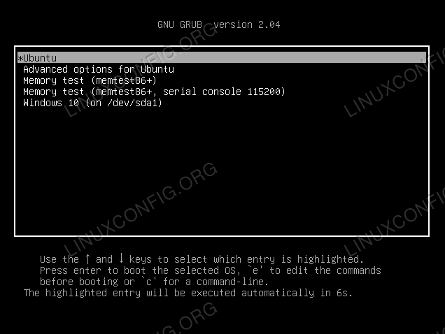 Selecting Ubuntu or Windows at system boot