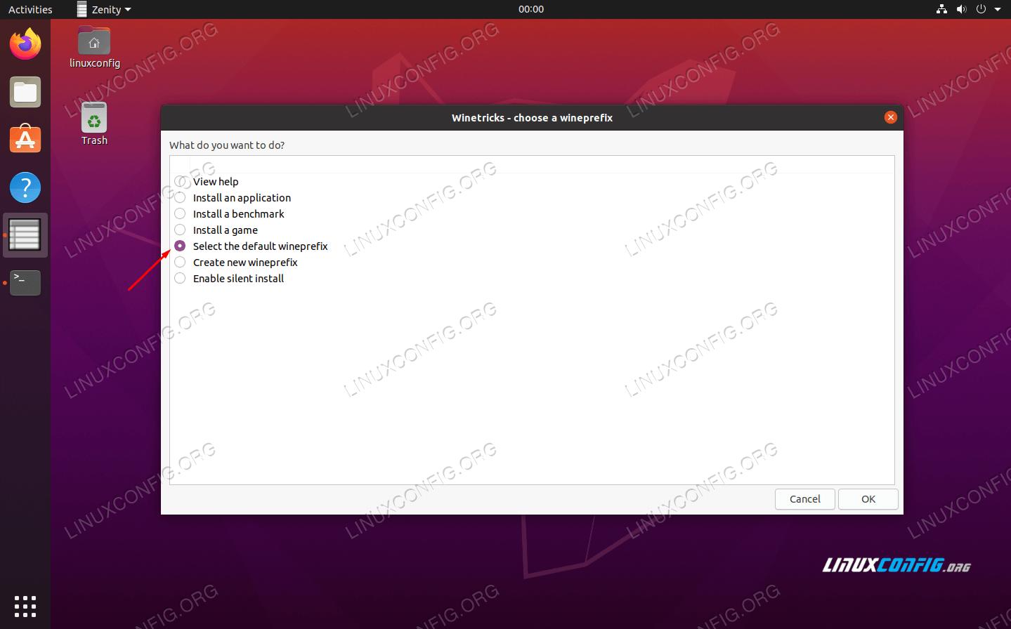 Select the default wineprefix