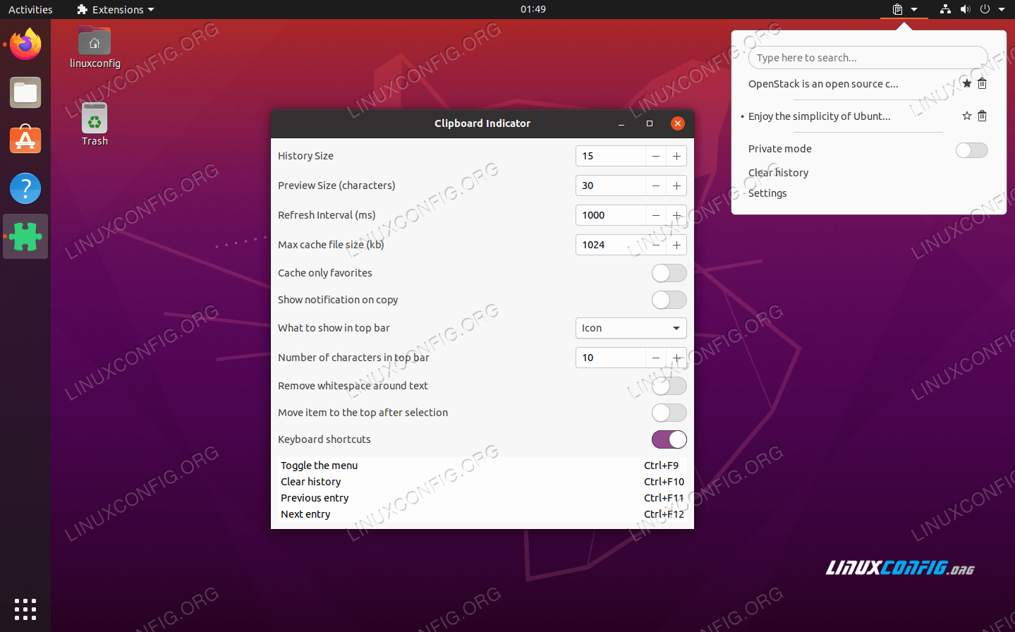 Clipboard Indicator GNOME extension