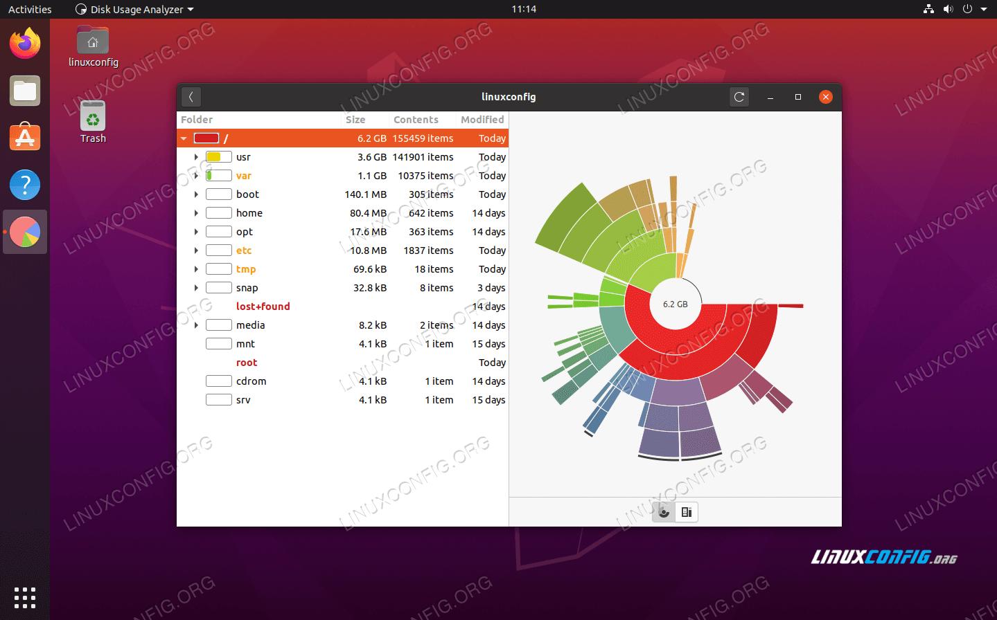 See storage usage on Ubuntu 20.04 Focal Fossa