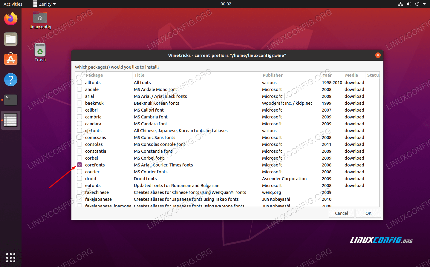 Select the fonts to install