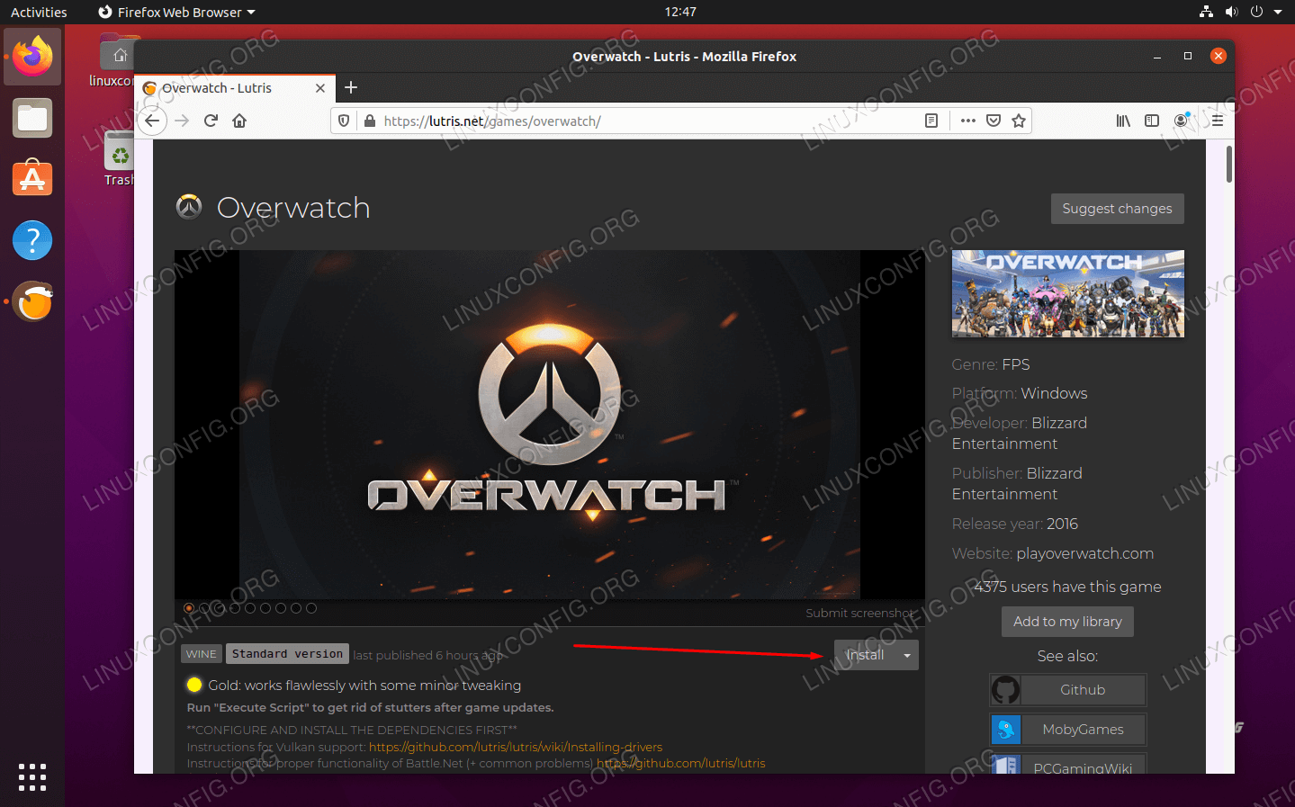 Click install on the game you'd like to get