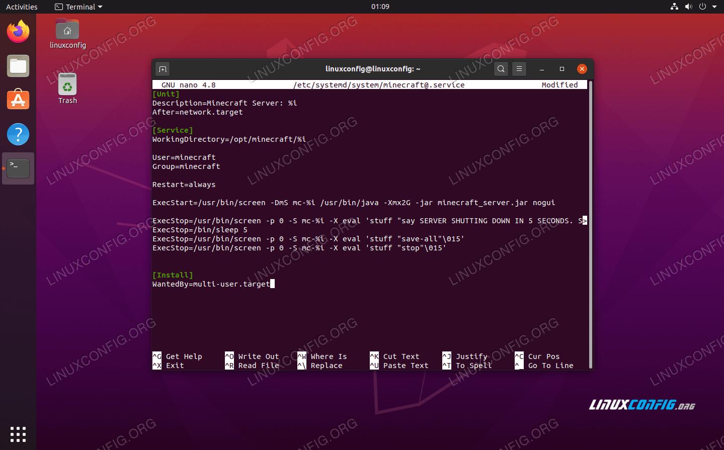 SystemD script for Minecraft