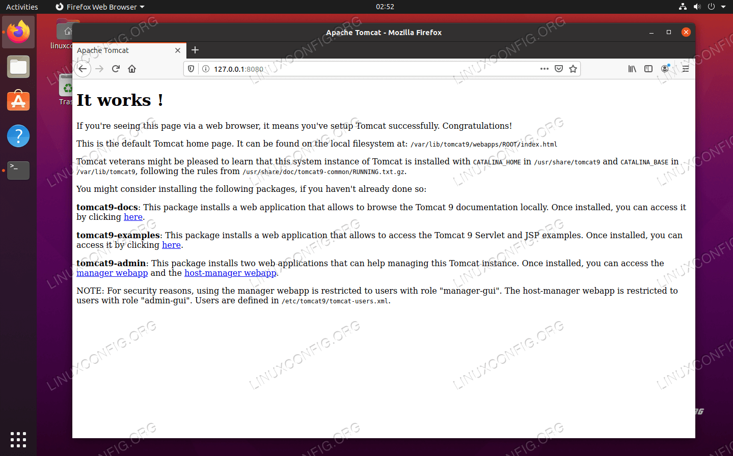 Apache Tomcat is running and is connectable from a browser