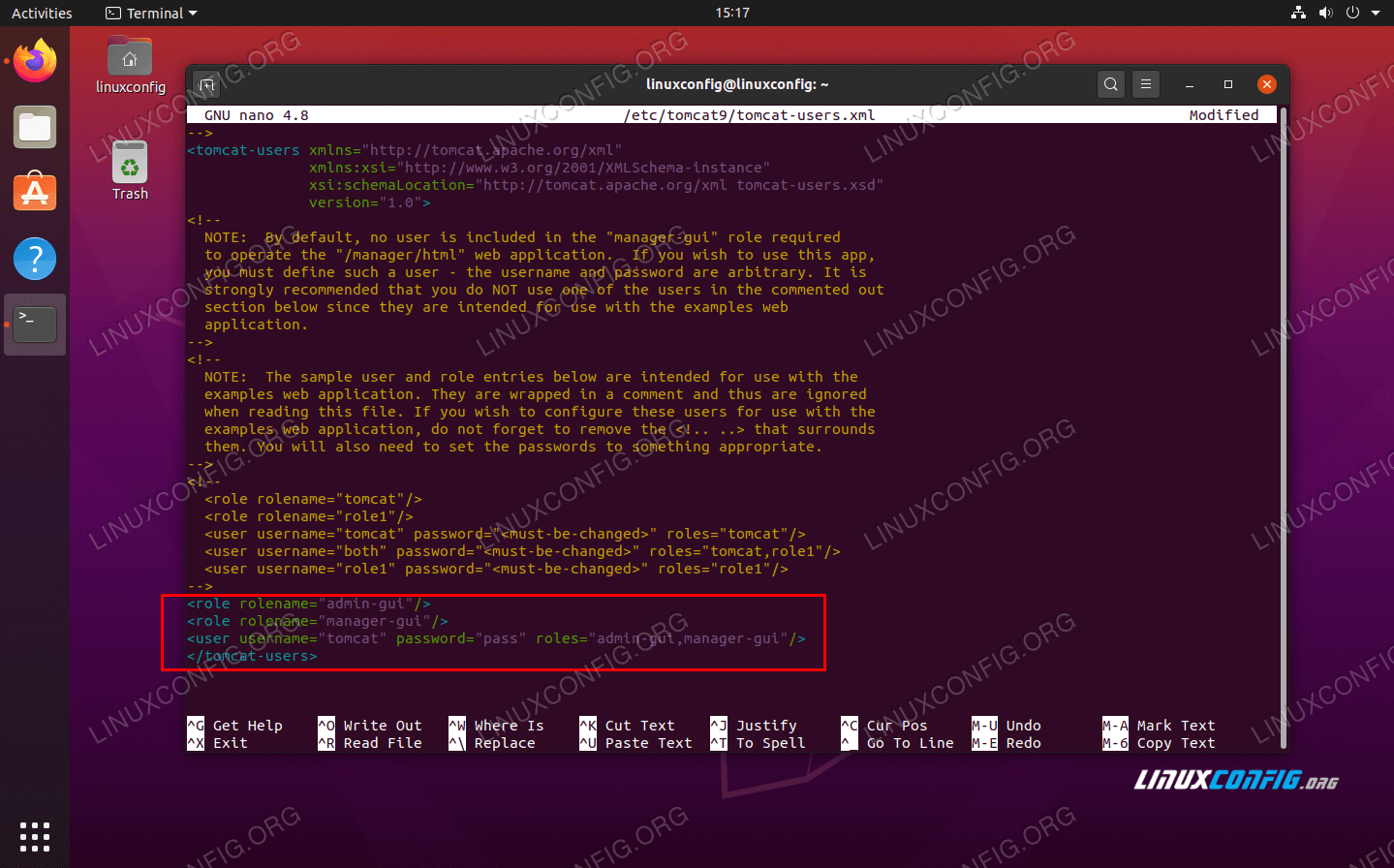 Editing the tomcat-users XML file with user credentials to access the admin GUI