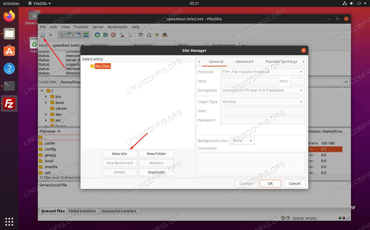 FileZilla site manager interface