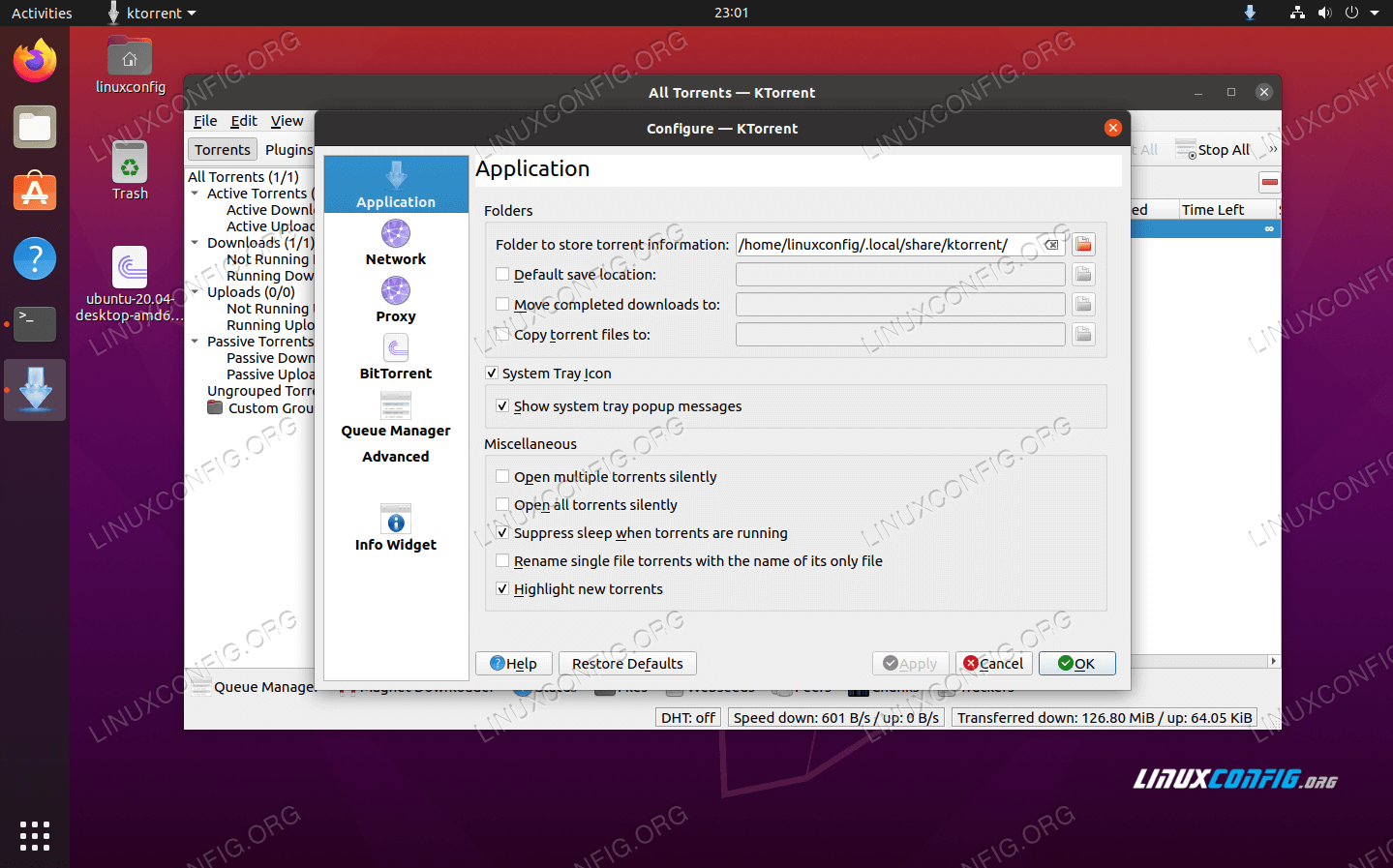 Options menu inside KTorrent
