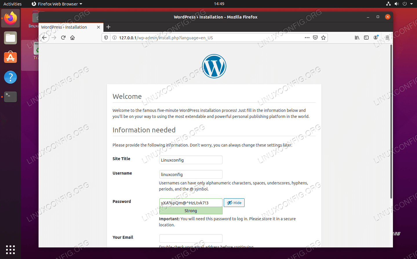 Enter information about your new WordPress site