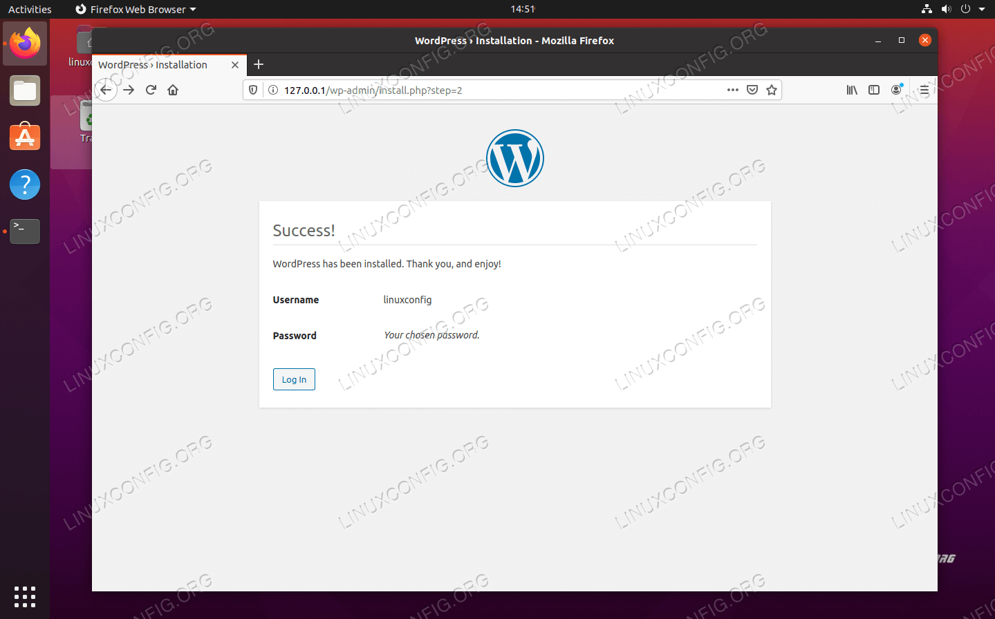 WordPress installation has completed successfully