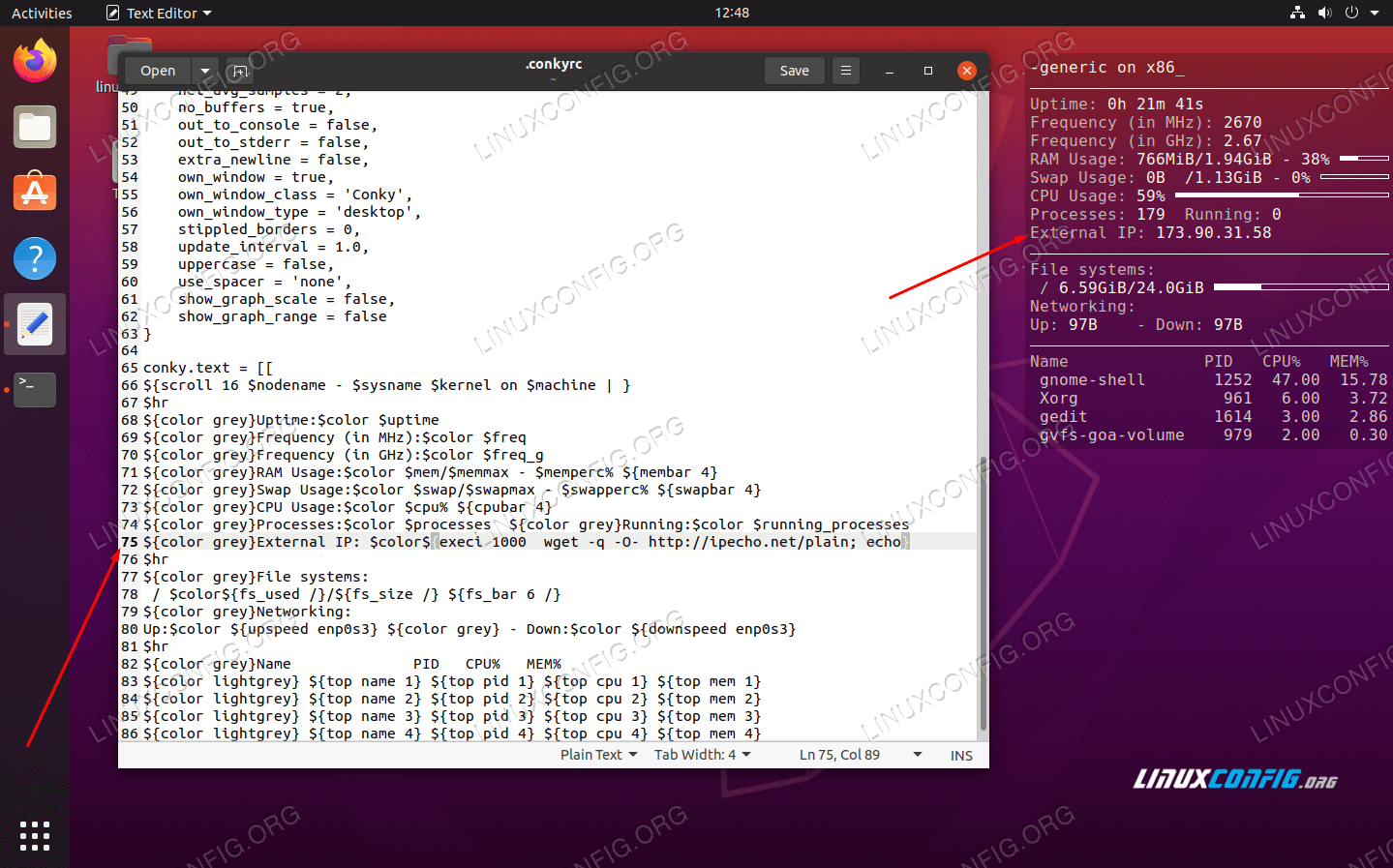 Conky is now reporting the external IP address of our system