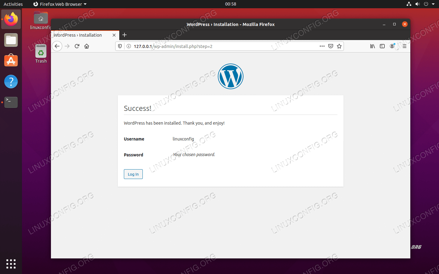 WordPress has installed successfully. Click log in to find the admin menu