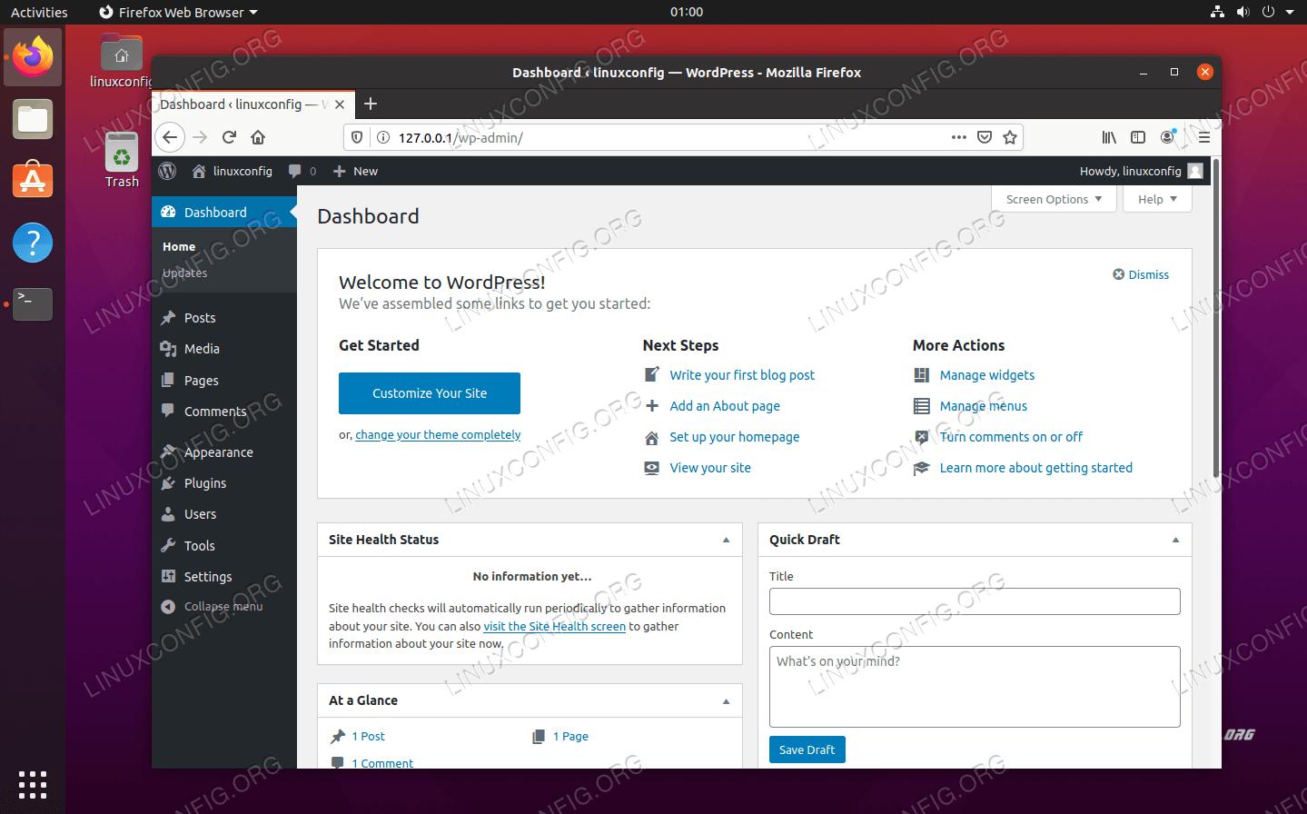 WordPress admin menu