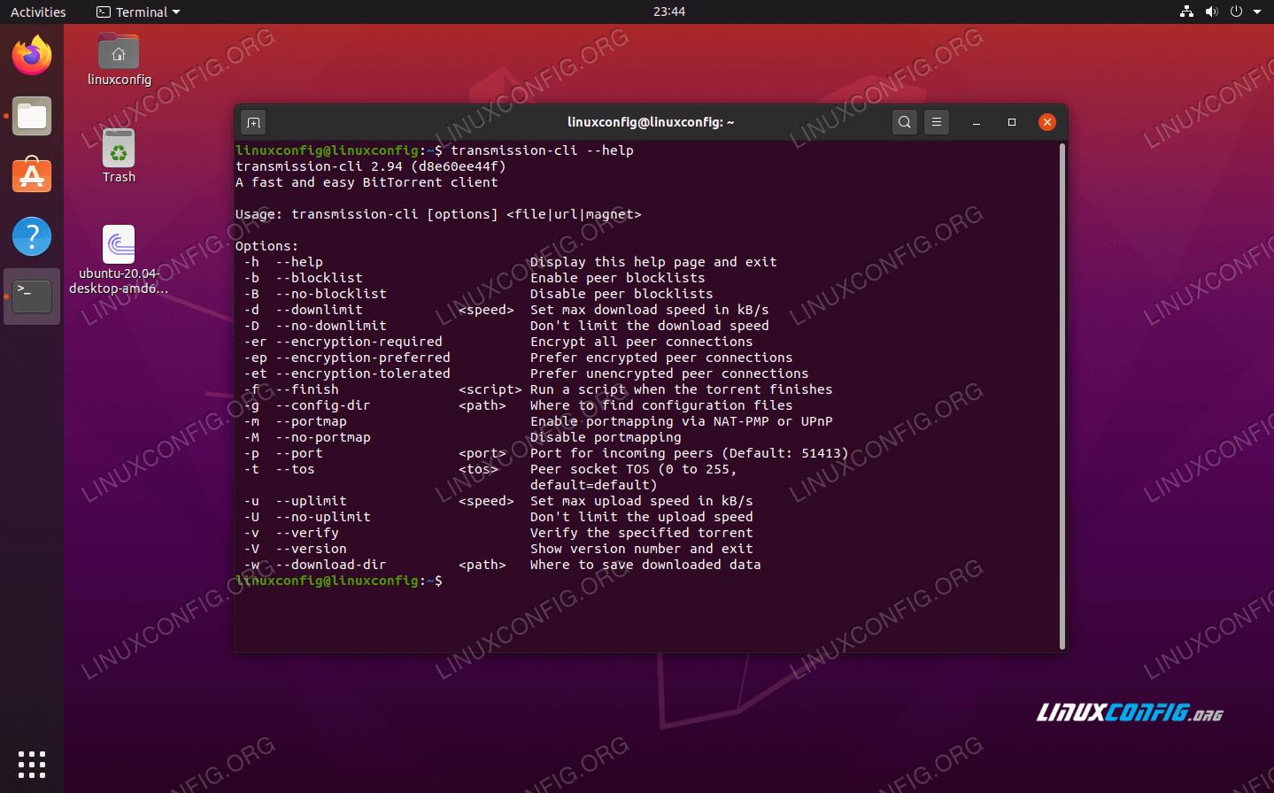 Transmission-CLI torrent client options