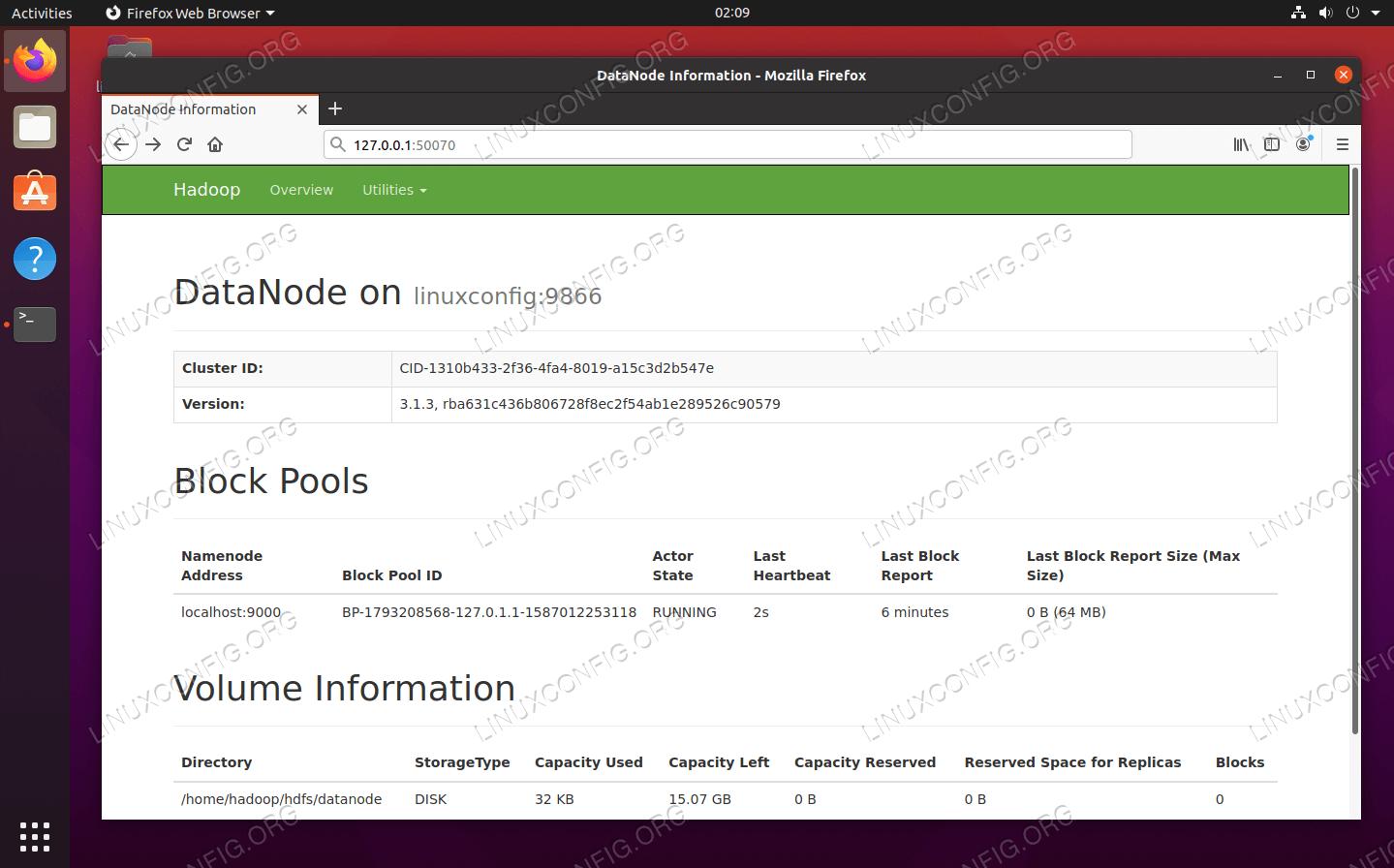 DataNode web interface for Hadoop
