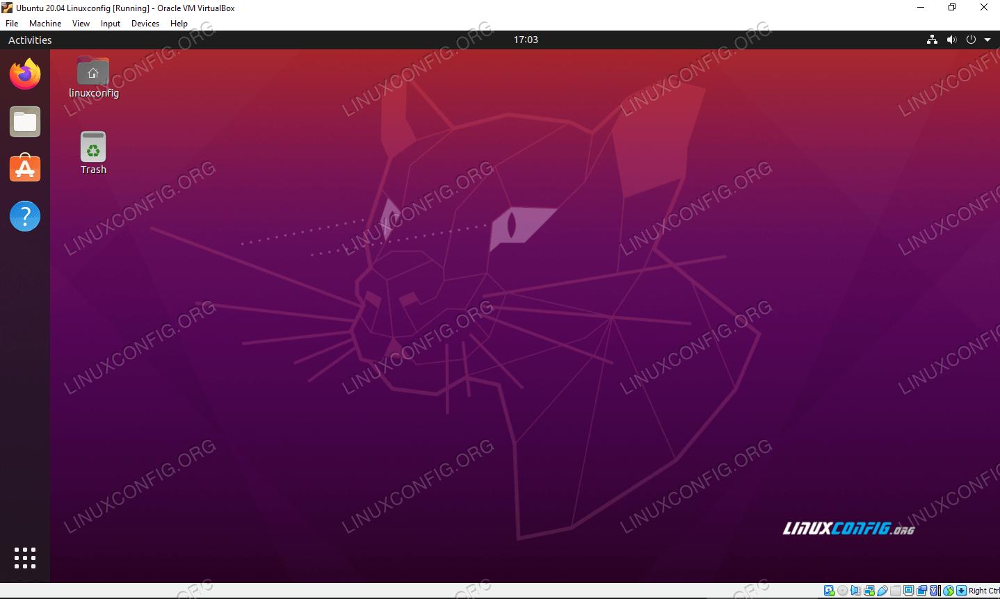 Ubuntu 20.04 Focal Fossa running on a virtual machine in VirtualBox